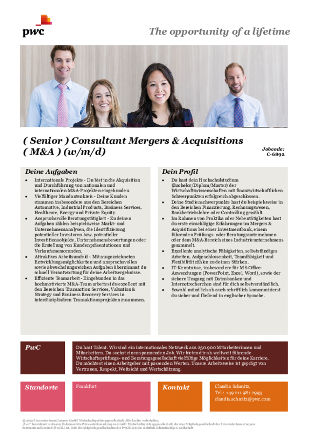 PwC: (Senior) Consultant Mergers & Acquisitions (M&A) (m/w/d)